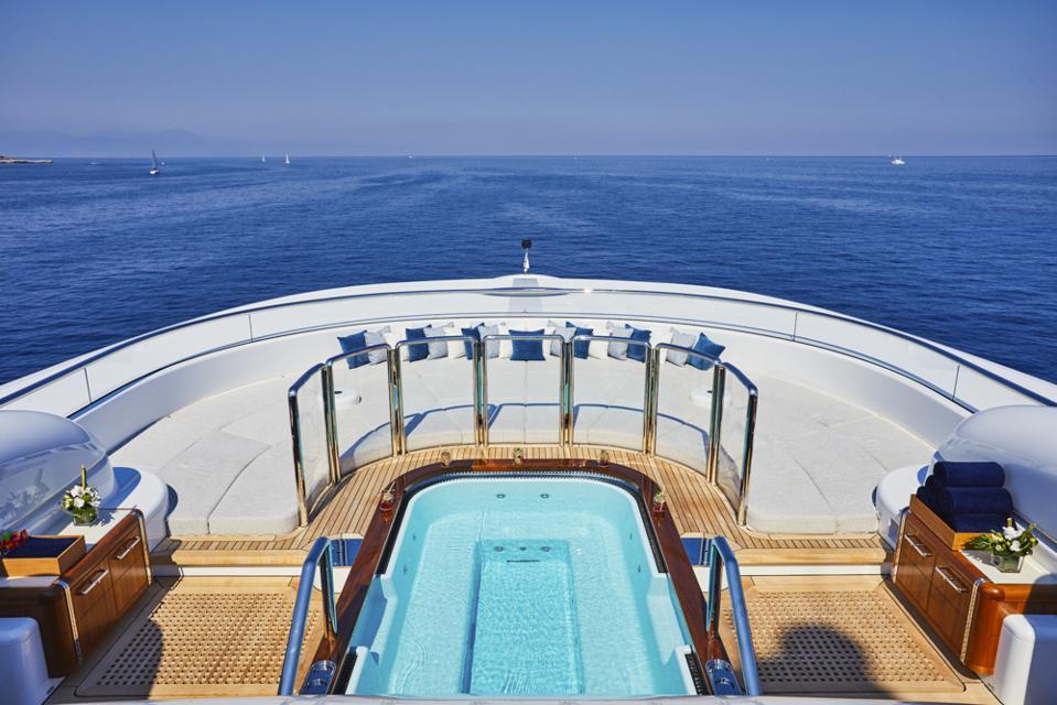 The pool aboard the Oceanco-built superyacht Barbara.