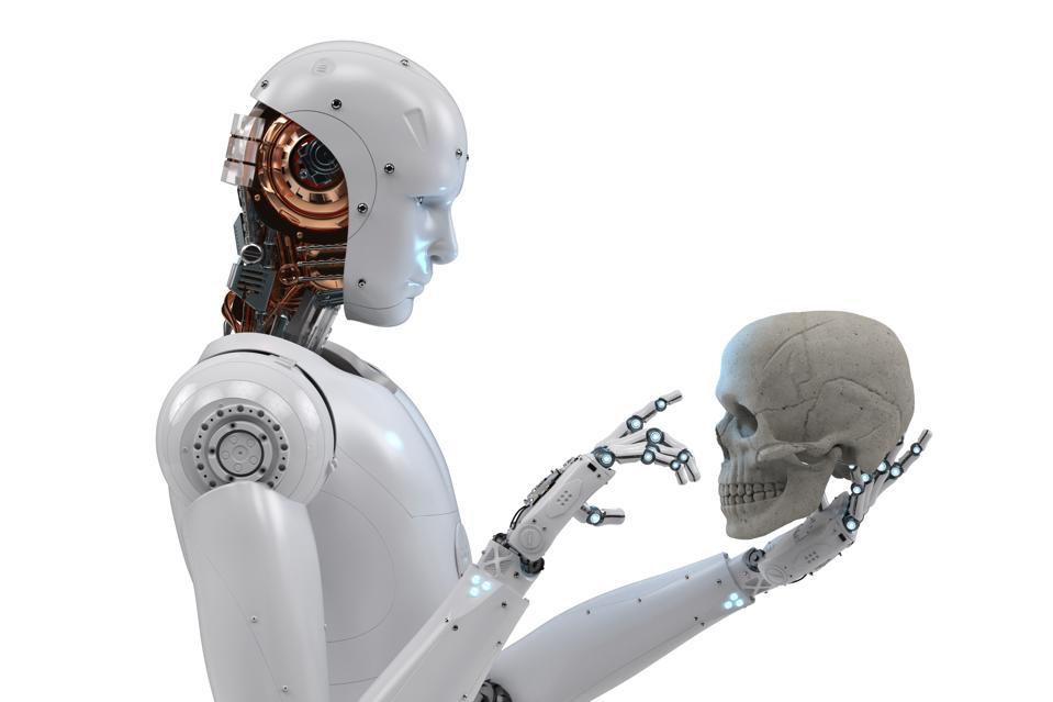 cyborg starring at human skull