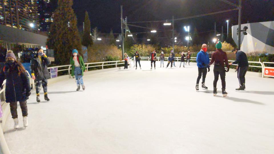 Ice skating at Maggie Daley skating ribbon