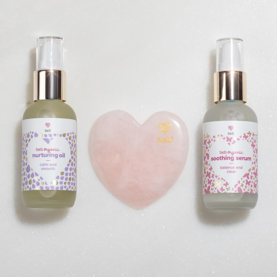 The ultimate self-care for mom and baby, the Beb Organic Soothing & Nurturing Gua Sha Set creates a bonding and nourishing skin-care ritual. The set includes a heart-shaped rose quartz Gua Sha tool, promoting feelings of love and peace, with a calming Soothing Serum and a moisturizing Nourishing Oil.