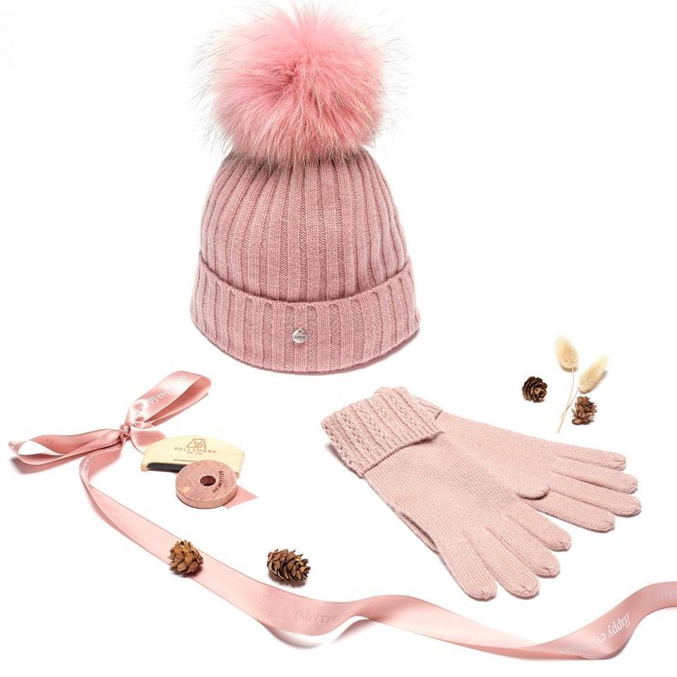 Premium Pink Cashmere Beanie Set