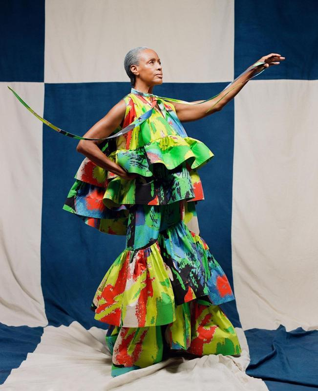 Christopher John Rogers model in vibrant two piece.