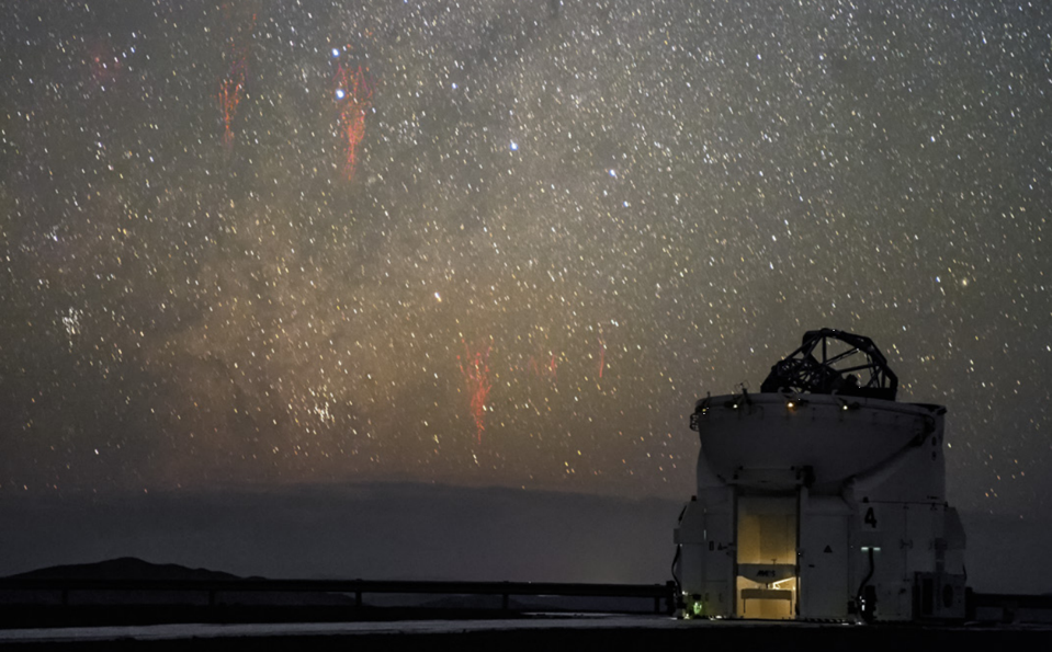 Two red sprites as captured in 2015 above the ESO's Paranal Observatory.
