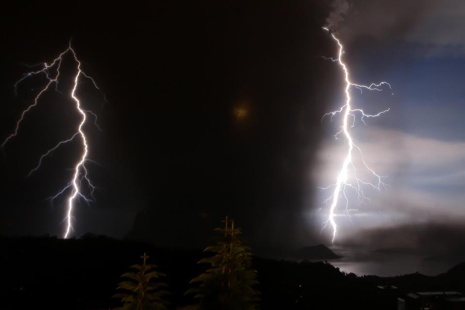 Volcanic lightning over Taal Volcano in January 2020.