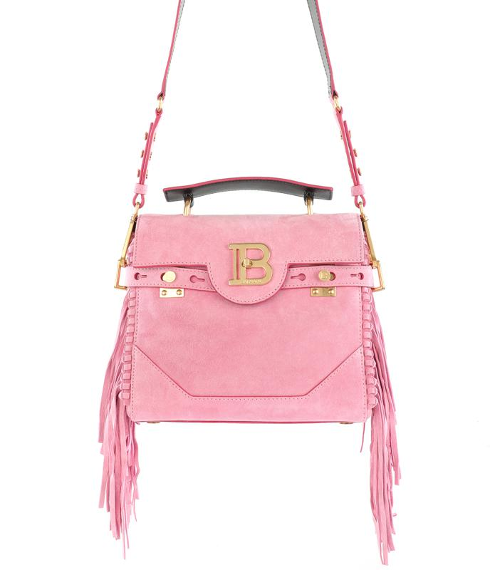 Pink suede B-Buzz 23 bag with fringe