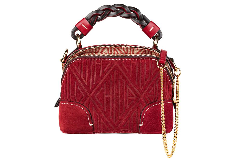 Chloé Mini Daria chain bag in Chloé-embossed suede calfskin  Available on Chloé.com and all Chloé boutiques