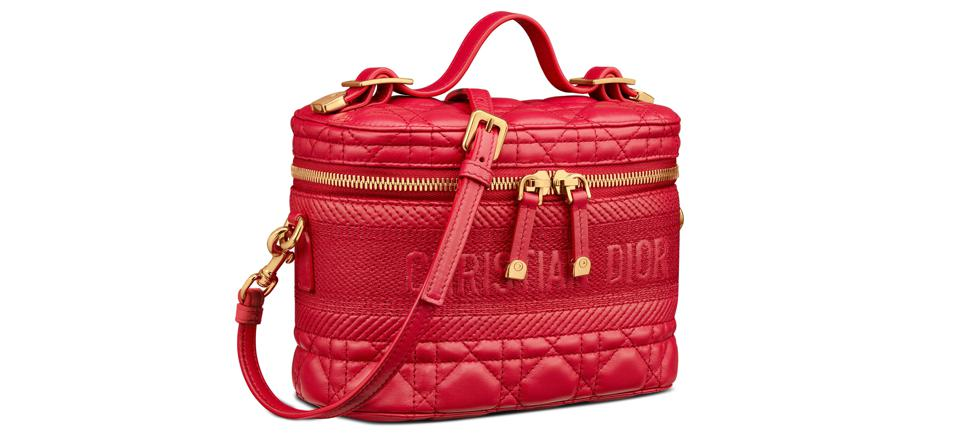 Poppy Red Cannage Lambskin Small DiorTravel Vanity Case