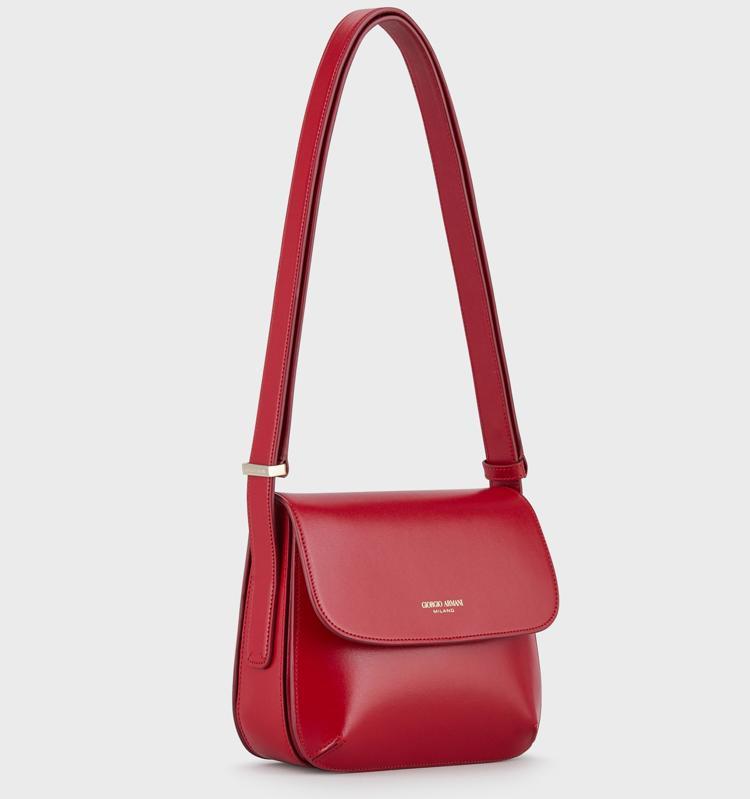 small palmellato leather La Prima shoulder bag in red
