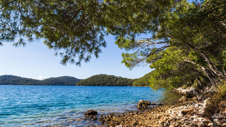 Rocky waterside in Mljet National Park