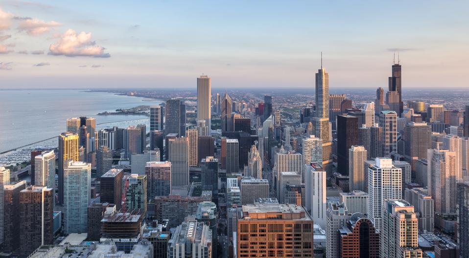 Chicago Skyline Last Sunlight
