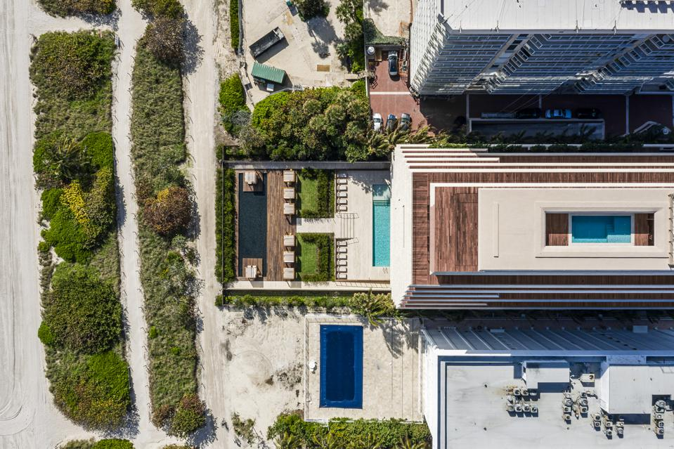 Aerial view of Arte Surfside including Penthouse