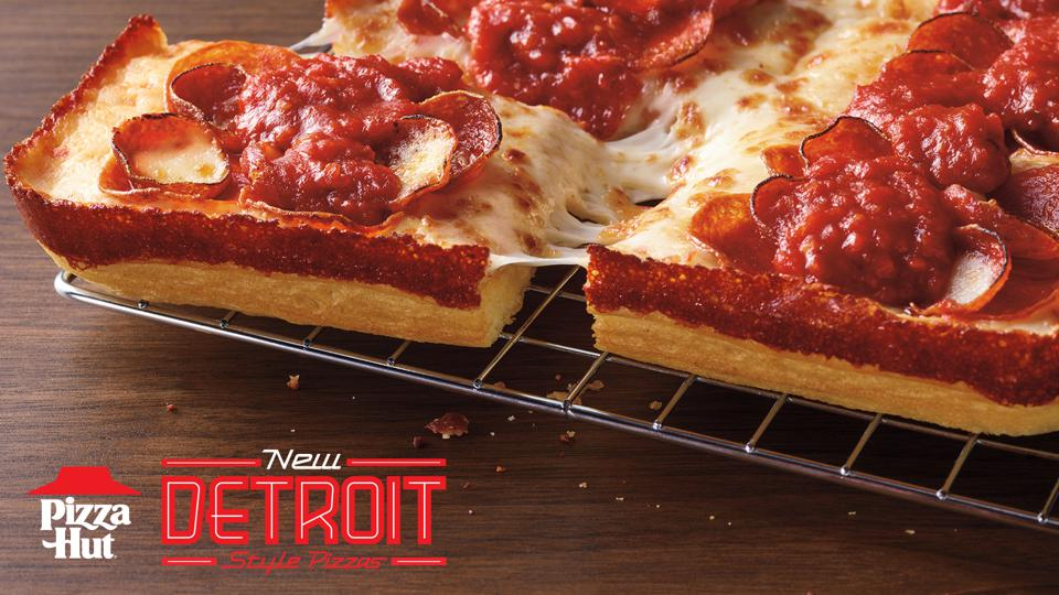 The Detroit-style pizza at Pizza Hut.