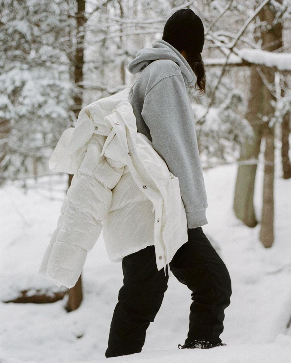 Canada Goose's sustainable Standard Parka in white.