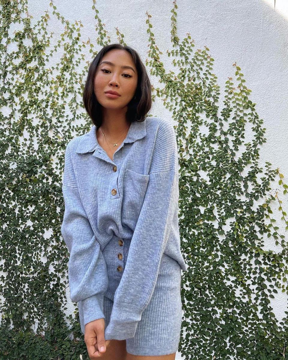 Influencer Aimee Song in Song of Style cozy knits from REVOLVE.