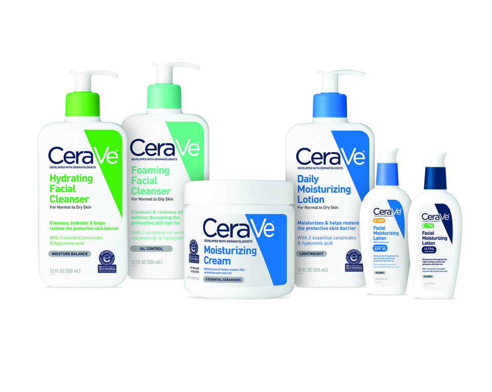 CeraVe cleansers, moisturizers and face lotions.
