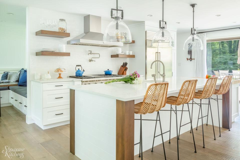 Kitchen with quiet vent hood.