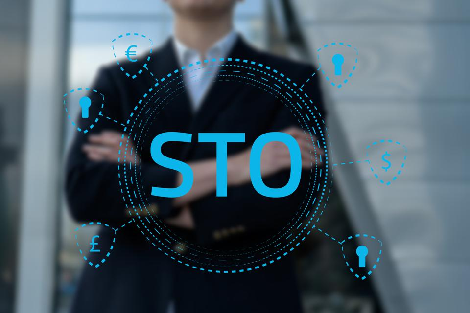 Security Token Offering STO cryptocurrency and blockchain concept.