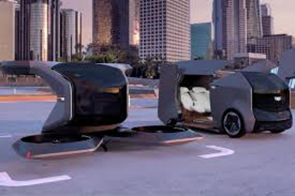 Image of a GM robo taxi and flying taxi