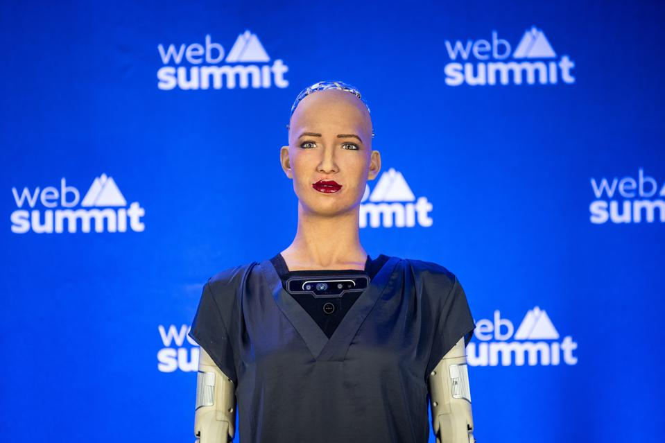 Hanson Robotics, Sophia, the female robot is presented...
