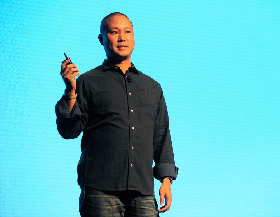 Tony Hsieh delivers a speech at Life Is Beautiful music festival in 2015.