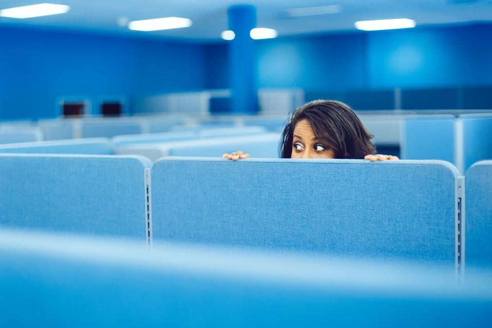 Office Worker Hiding
