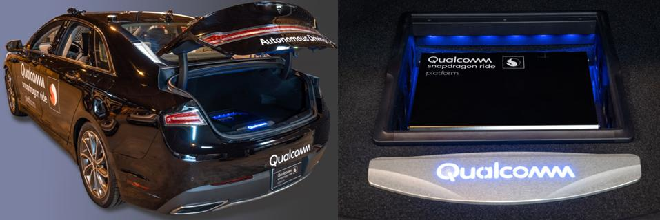 Image of the autonomous Qualcomm car and Snapdragon Ride system