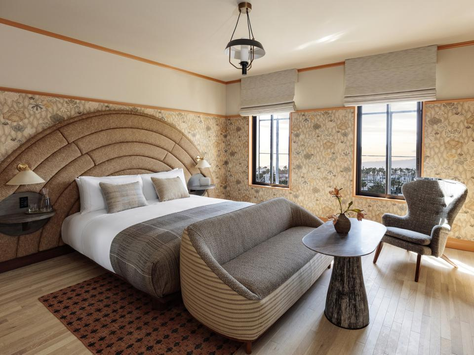 The bedrooms at the Santa Monica Proper hotel in California are cheerful and modern.