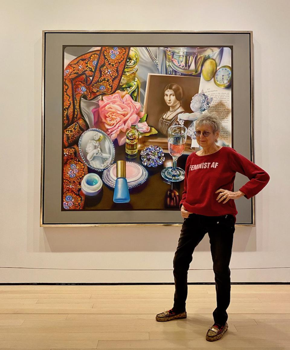 Audrey Flack in front of her painting ″Leonardo's Lady″