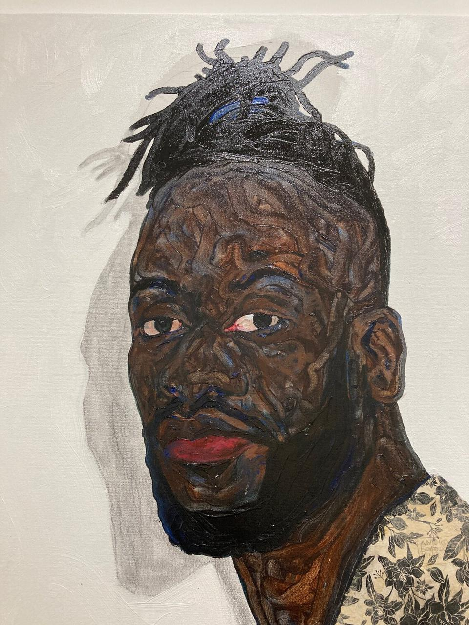 Amoako Boafo, detail, 'Self portrait with blue hair tie,' 2019, oil on canvas, 66 x 66 inches, acquired in 2019. Collection of the Rubell Museum.