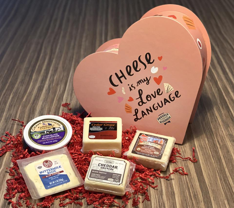 Valentine's Day Gift package of Wisconsin Cheese in a heart-shaped wooden box