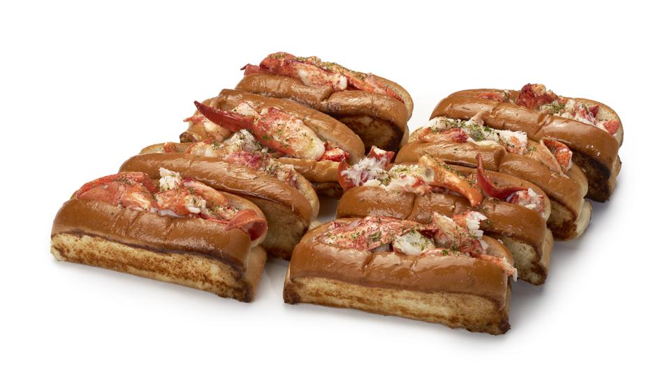 Eight lobster rolls ready to eat