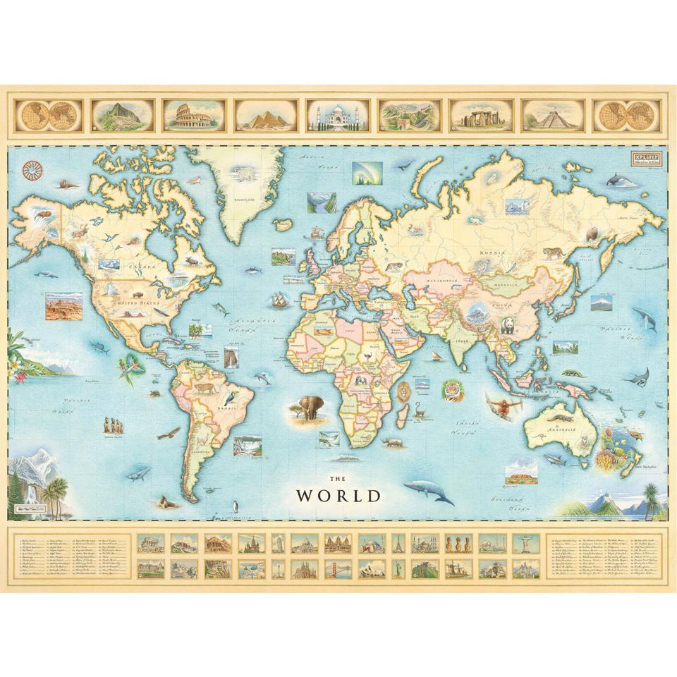 A full-sized map of the world to hang on the wall