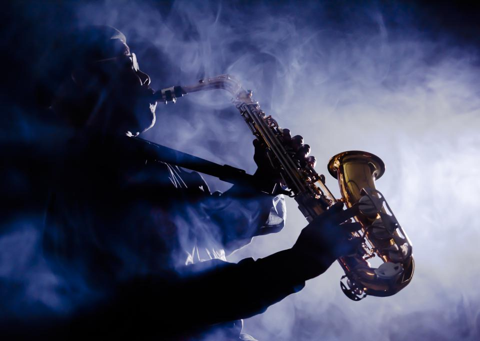 African jazz musician playing the saxophone