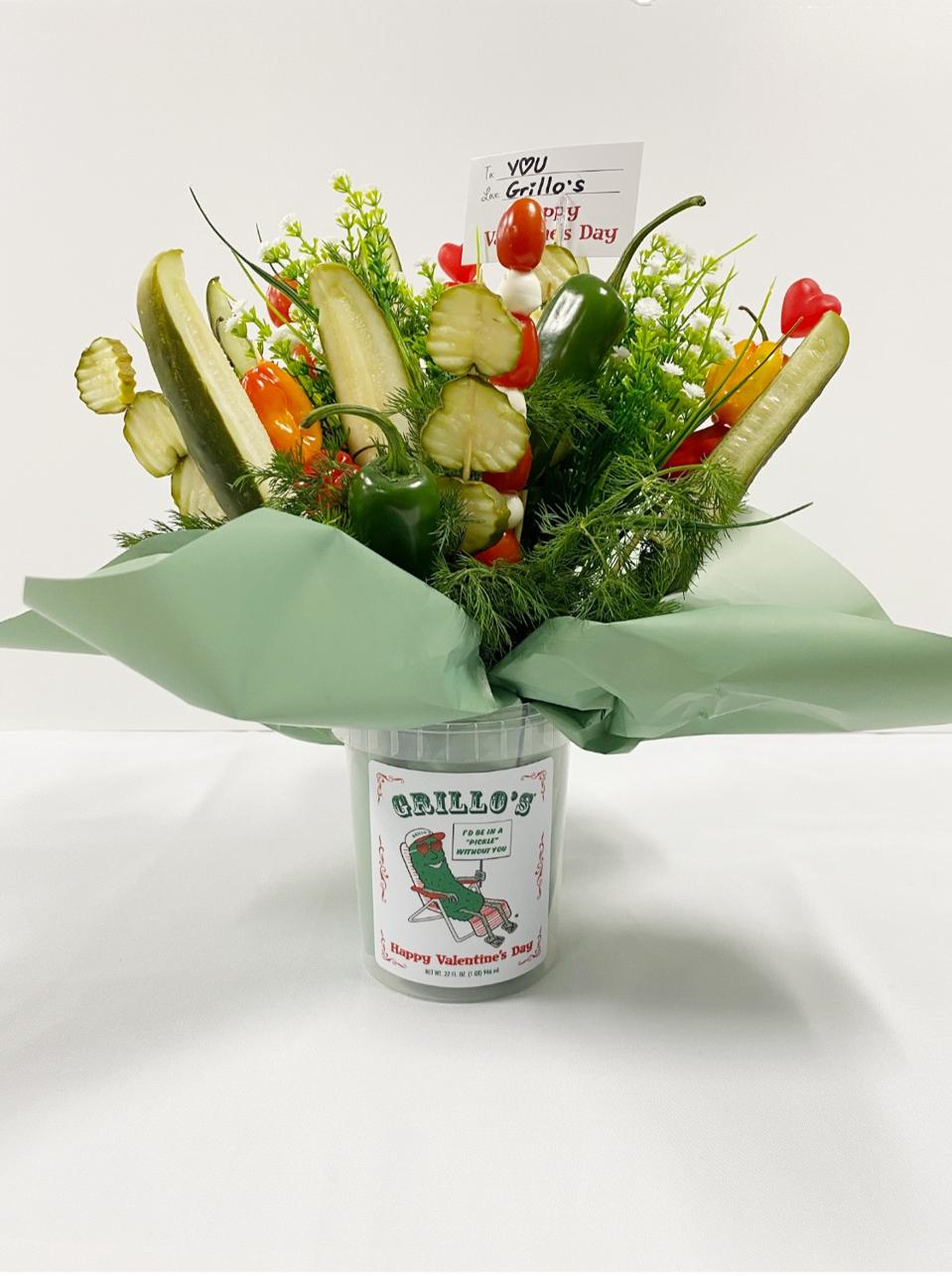 A Valentine's Day pickle bouquet.