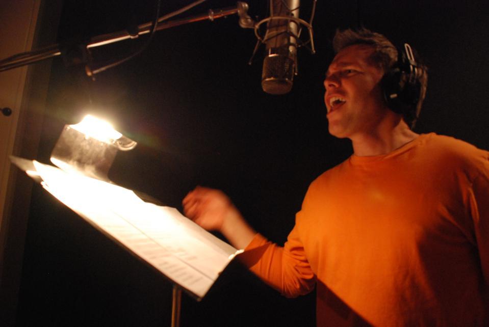 Adam James in studio creating a singstagram
