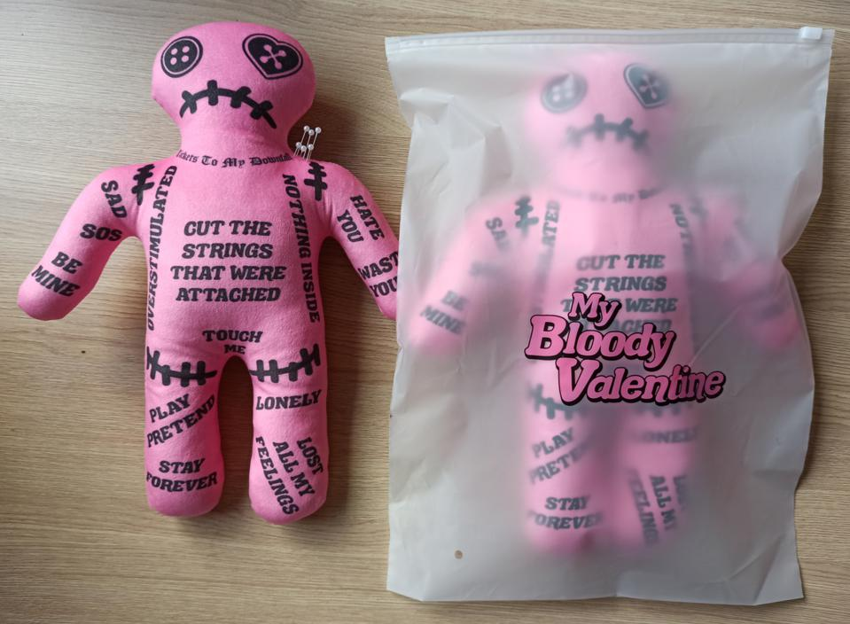 A Voodoo Doll for your non-Valentine comes in a plastic ″My Bloody Valentine″ bag