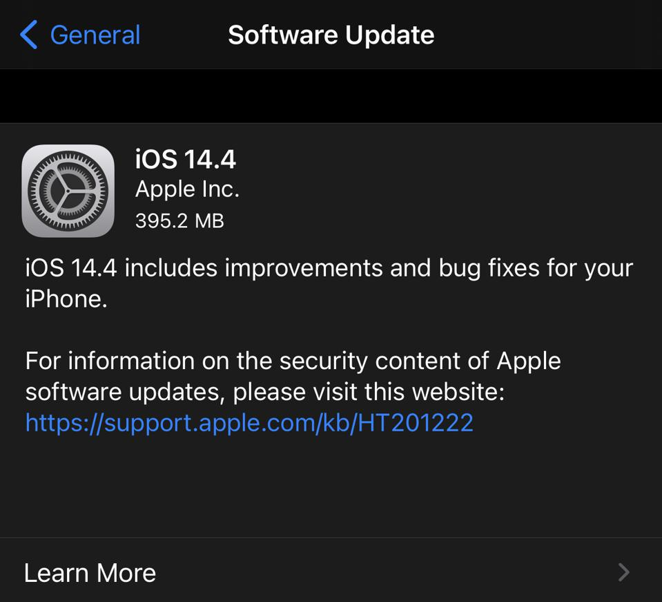 Apple iOS 14.4 is released.
