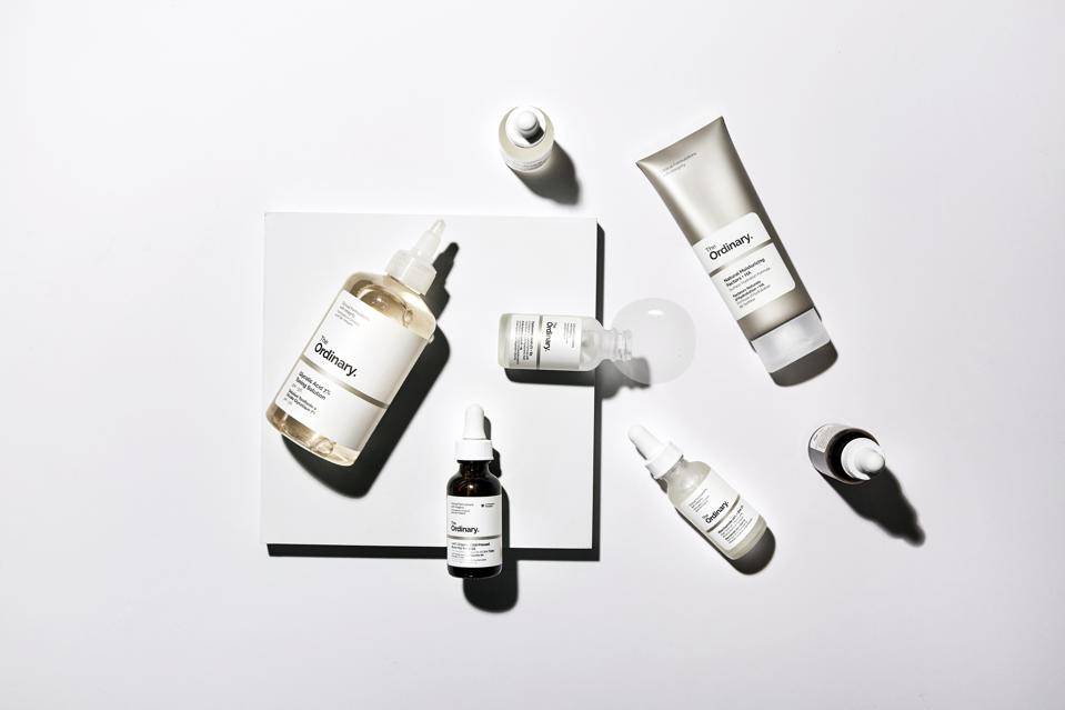 The Ordinary's line of skincare products.