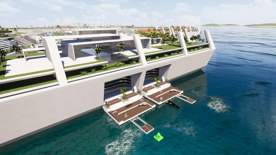 Some proposed villas onboard the Blue Estate come with fold down water access just like onboard a large superyacht.