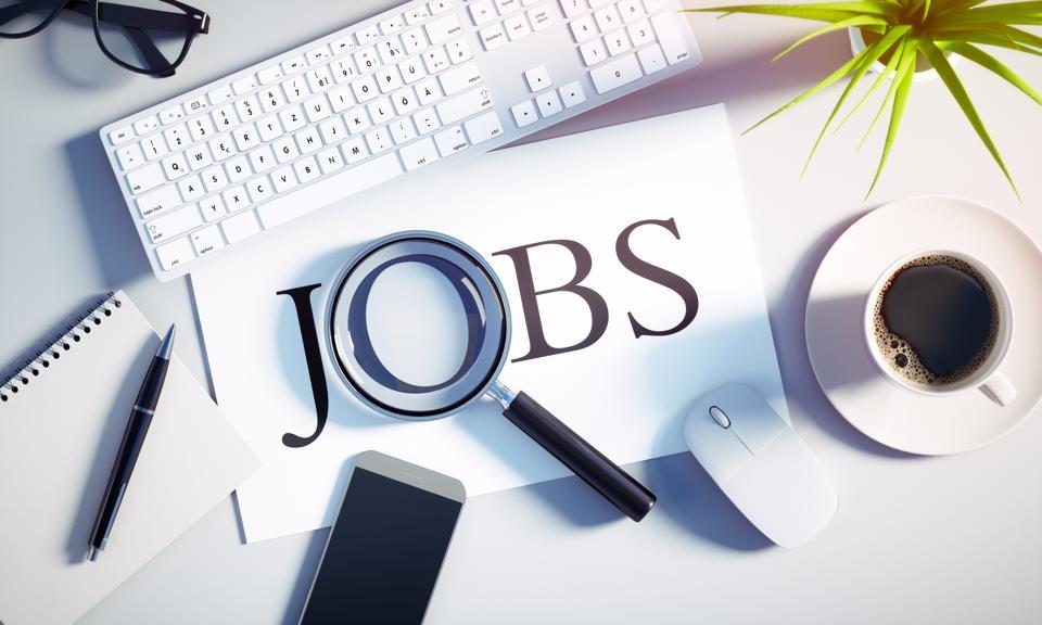 Top view of a white desktop - Concept job search