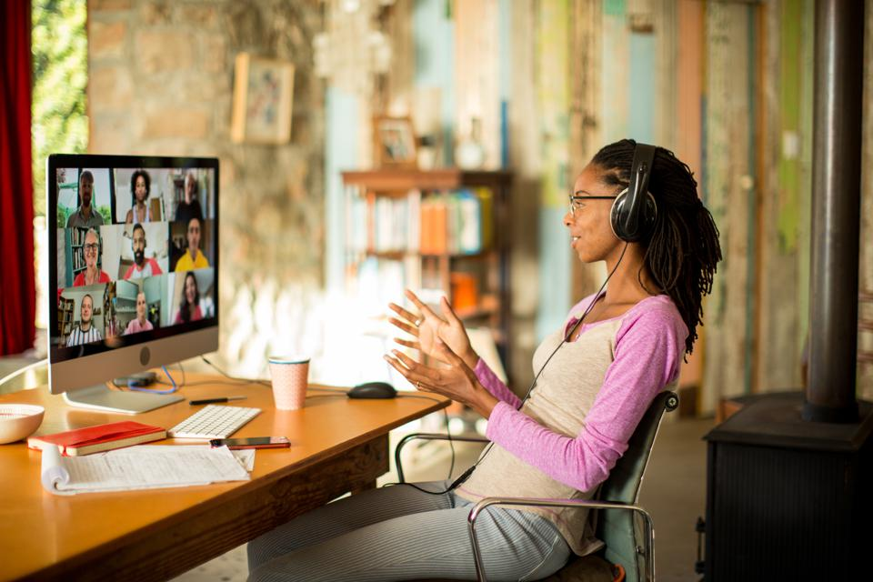 Afro-caribbean woman on video call from home during the Covid lockdown