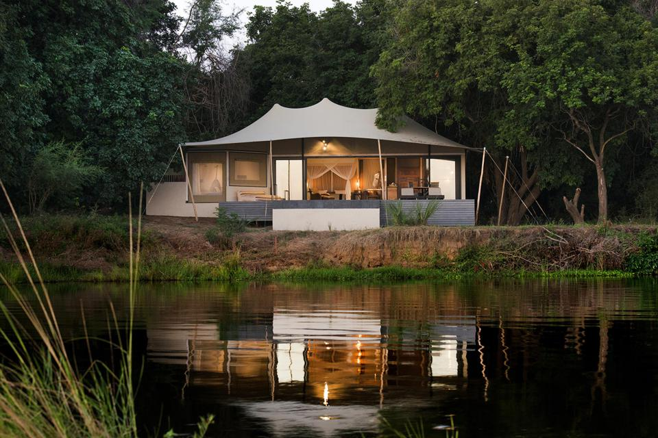 A tent on the banks of the Zambezi River