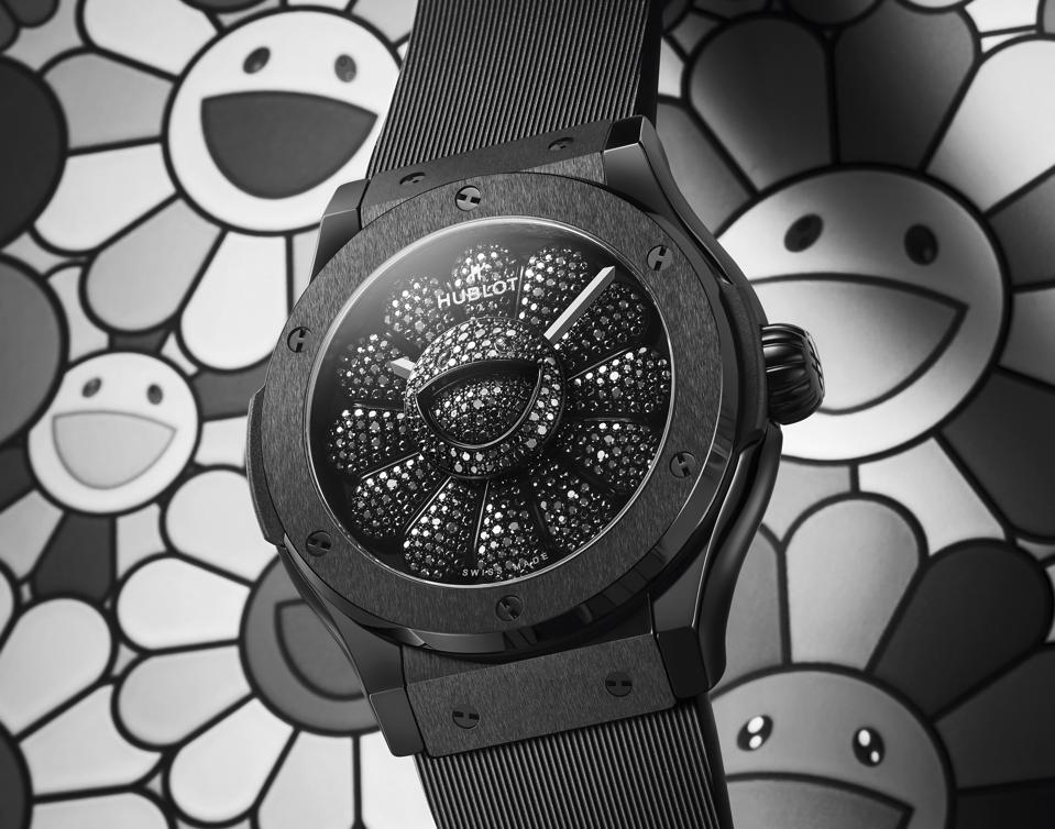 The watchmaker's latest draws on the theme of Murakami's artistic emblem, the smiling flower.
