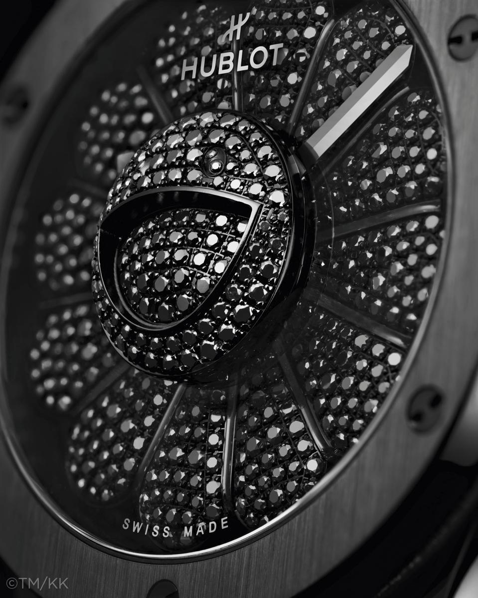 The black diamond-studded and petaled Murakami watch.