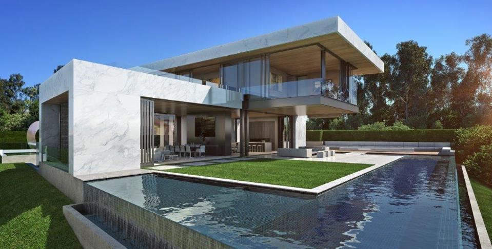 rendering for a modern home at 1210 laurel way in Los Angeles.