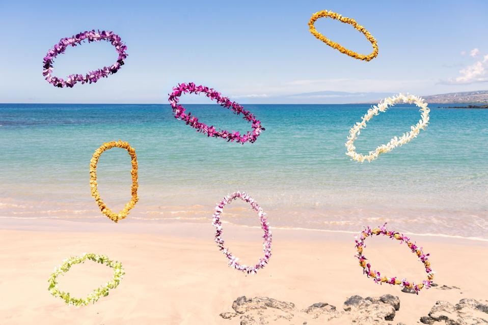 Leis on a beach