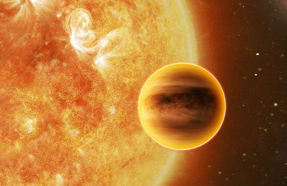 An artist's illustration of a world that would be classified as a rocky super-Earth.