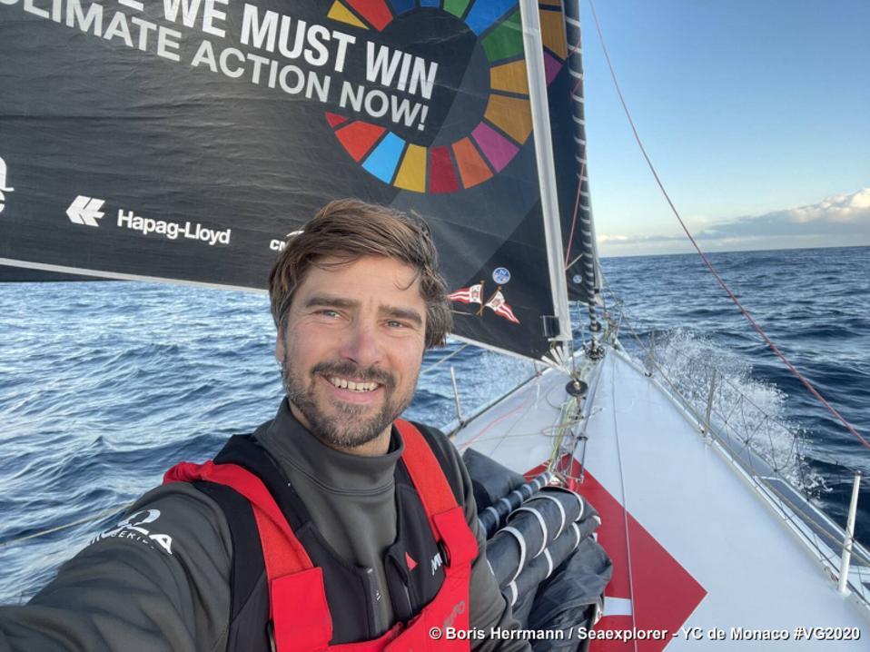 Skipper Boris Herrmann in the boat Seaexplorer - Yacht Club de Monaco