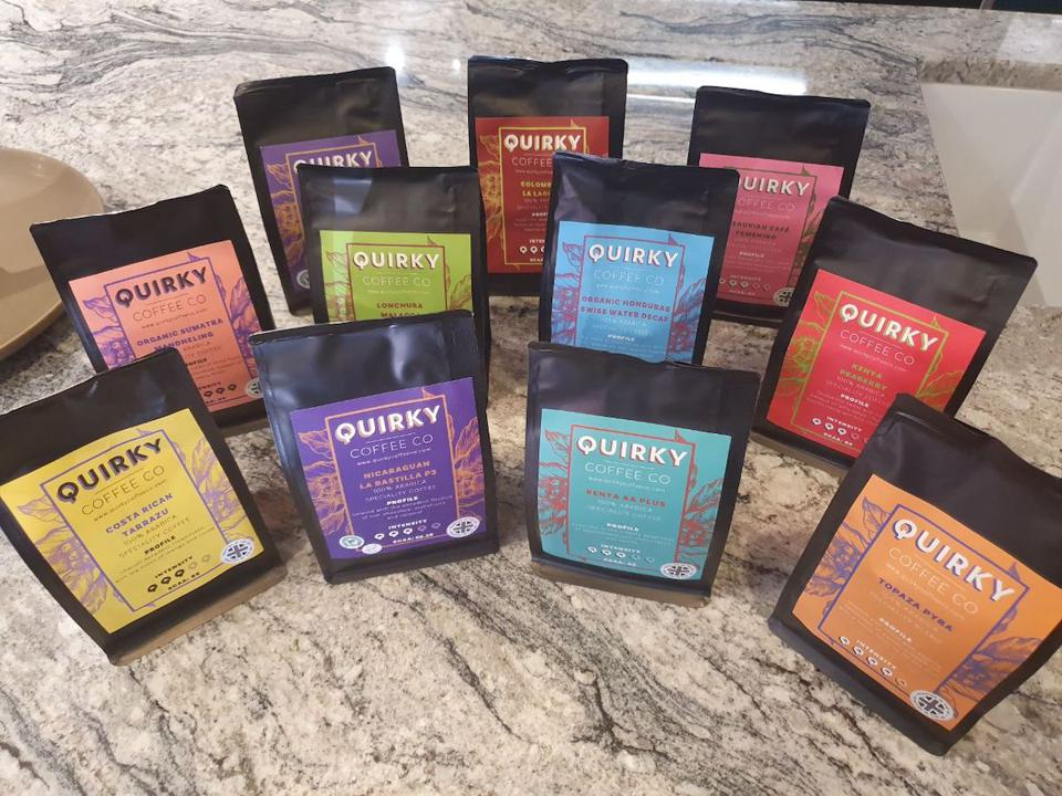 colorful packages of coffee