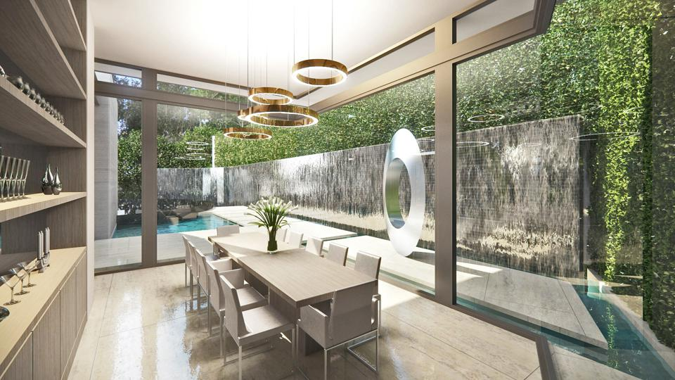 contemporary dining room at 1200 laurel way beverly hills luxury home